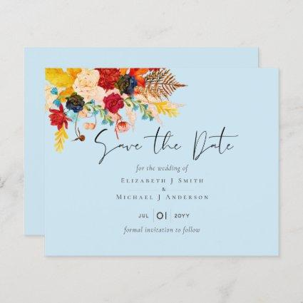 Budget Deep Red Blue Teal Cinnamon Save the Date