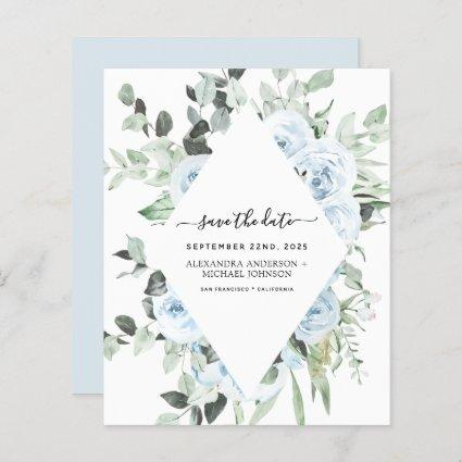 Budget Dusty Blue Floral Save the Date Greenery