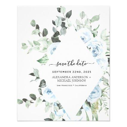 Budget Dusty Blue Floral Save the Date Greenery Flyer