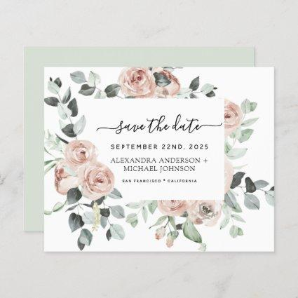 Budget Dusty Pink Floral Save the Date  Invitation