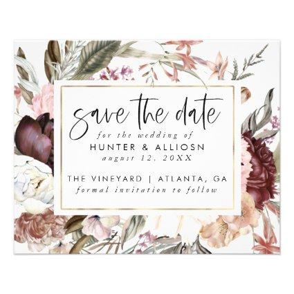 Budget Dusty Rose Floral Save the Date Flyer