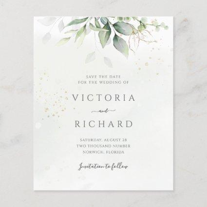 Budget Eucalyptus Greenery Gold Save The Date