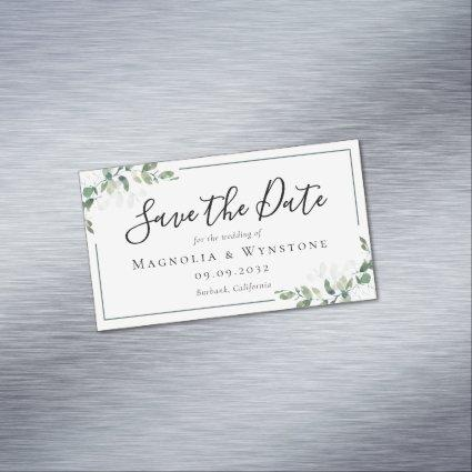 BUDGET Eucalyptus Watercolor Wedding Save The Date Business Card Magnet