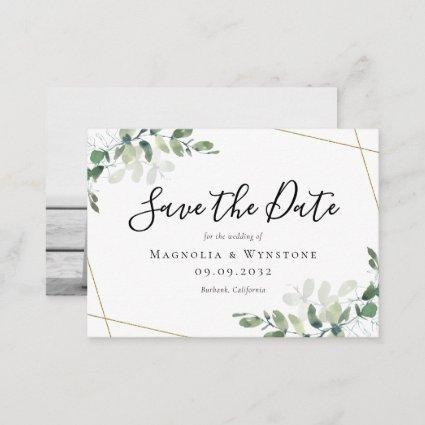 BUDGET Eucalyptus Watercolor Wedding Save The Date Note Card