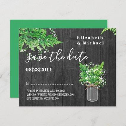 BUDGET Greenery Ferns Wedding Save The Dates