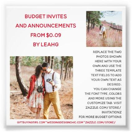 BUDGET Invitation Announcement Save the Date PHOTO