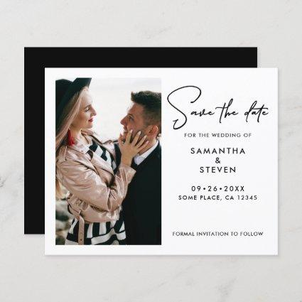 Budget Modern Photo Save The Date Card