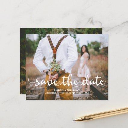 Budget Modern Two Photo Wedding Save the Date