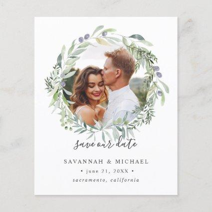 BUDGET Olive Wreath Photo wedding save the date