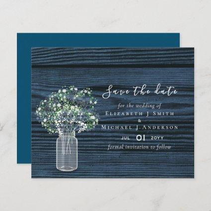 Budget Rustic Save Date  with Babys Breath
