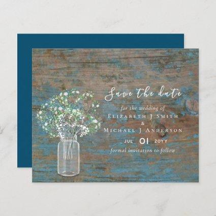 BUDGET Rustic Wood Gypsophila Save the Dates