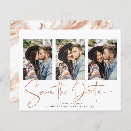 BUDGET Save the Date Copper Rose Gold Marble