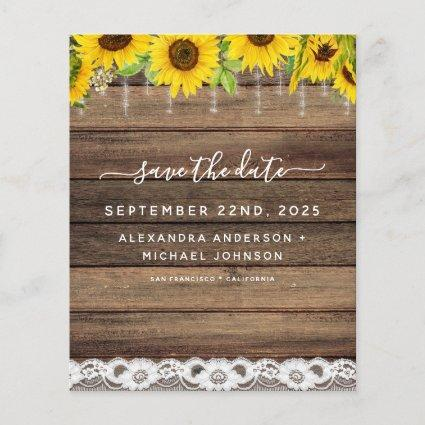 Budget Save the Date Sunflower Rustic Invitation