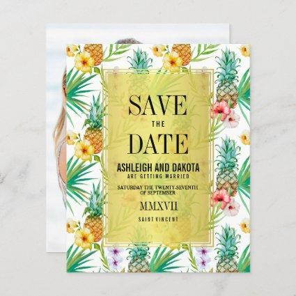 Budget Tropical Pineapple & Hibiscus Save The Date