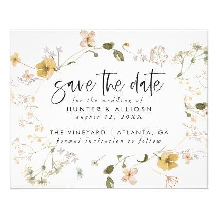 Budget Wild Flower Save the Date Flyer