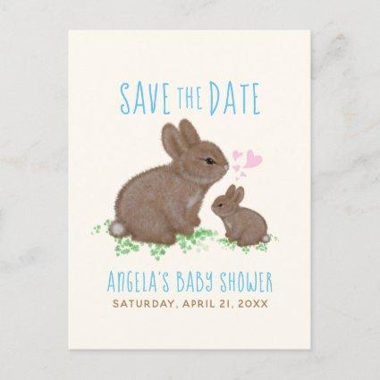 Bunnies Hearts Boy Baby Shower Save The Date Announcement