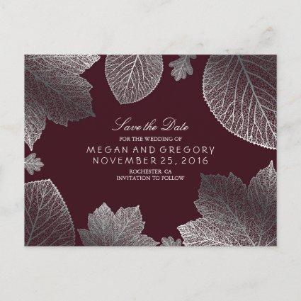 burgundy and silver leaves fall save the date announcement