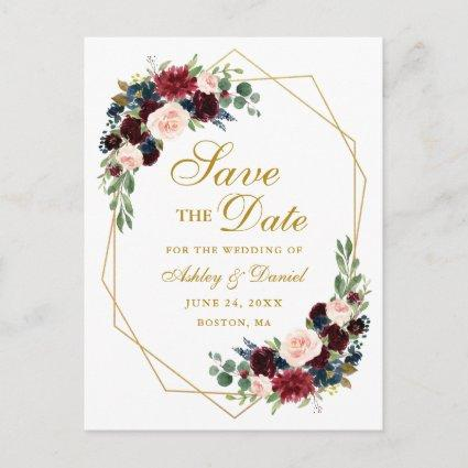 Burgundy Blue Floral Gold Frame Save the Date Announcement