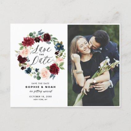 Burgundy & Blue Floral Wreath Photo Save the Date Announcement