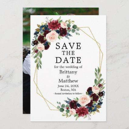 Burgundy Blue Watercolor Floral Geo Frame Photo Save The Date