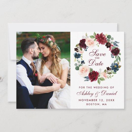 Burgundy Blue Watercolor Floral Wreath Wedding B Save The Date