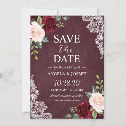 Burgundy Blush Floral Beautiful White Lace Wedding Save The Date