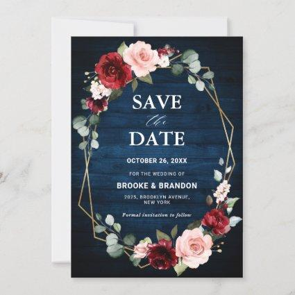Burgundy Blush Floral Modern Geometric Wedding Sav Save The Date