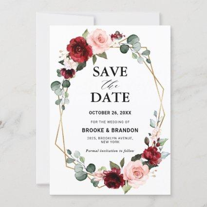 Burgundy Blush Floral Modern Geometric Wedding Save The Date