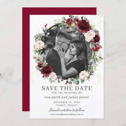 Burgundy Blush Floral Photo Save the Date Card