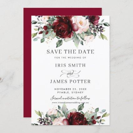 Burgundy Blush Floral Wedding Save the Date Card