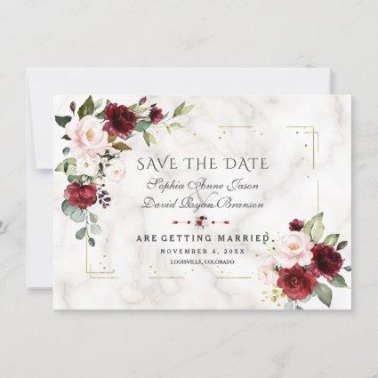 Burgundy Blush Flowers Gold Glitter Marble Wedding Save The Date