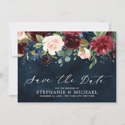 Burgundy Blush Navy Blue Botanical Floral Wedding Save The Date