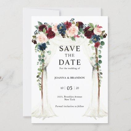 Burgundy Blush Navy Floral Arch Canopy Wedding Save The Date