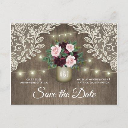 Burgundy Blush Pink Gold Wedding Save the Date Announcement