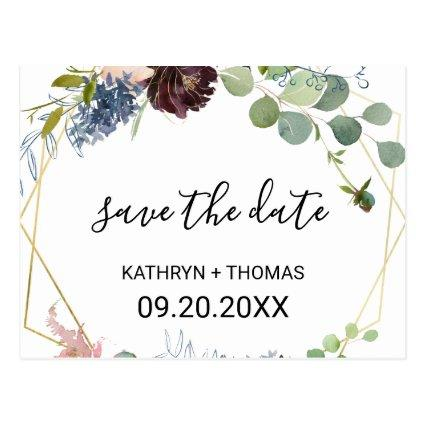 Burgundy Floral and Greenery Save the Date Cards