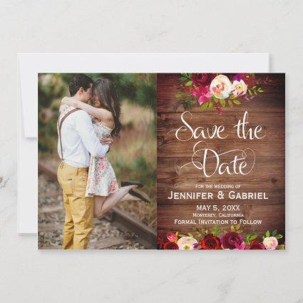 Burgundy Floral Barn Wood Save the Date Photo