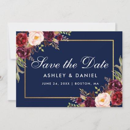 Burgundy Floral Blue Gold Save The Date