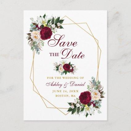 Burgundy Floral Gold Frame Save The Date Announcement