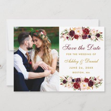 Burgundy Floral Gold Photo Save The Date