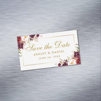 Burgundy Floral Gold Save The Date Mini Magnet