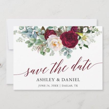 Burgundy Floral Greenery Calligraphy Save The Date
