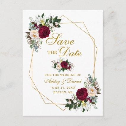 Burgundy Floral Greenery Gold Save The Date Announcement