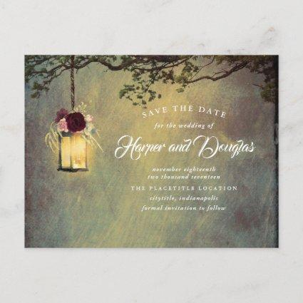 Burgundy Floral Hanging Lantern Save the Date Announcement