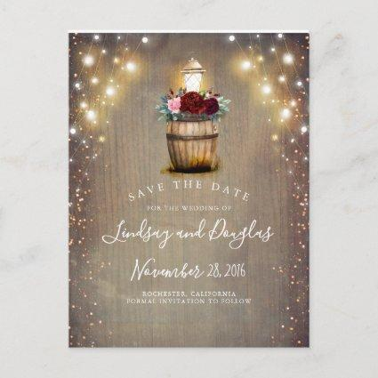 Burgundy Floral Lantern Rustic Fall Save the Date Announcement