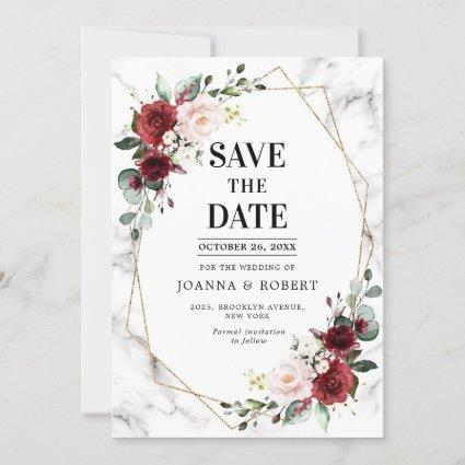 Burgundy Floral Marble Geometric Wedding Save The Date