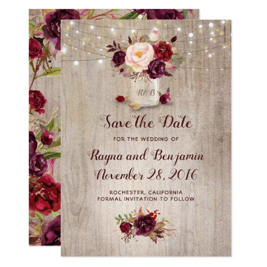 Burgundy Floral Mason Jar Rustic Save the Date Card