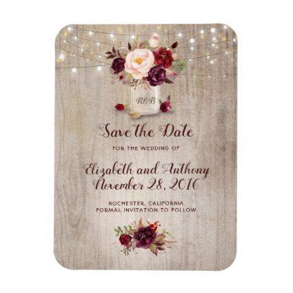 Burgundy Floral Mason Jar Rustic Save the Date Magnet