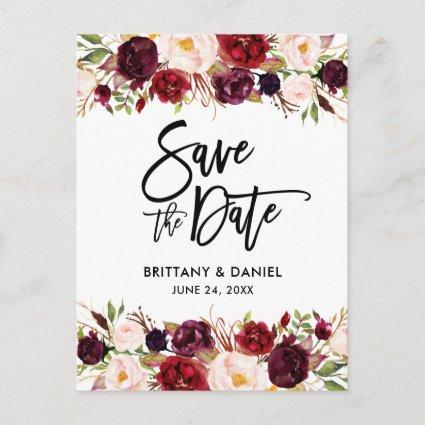 Burgundy Floral Modern Brush Script Save the Date Announcement