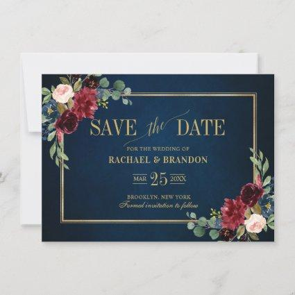 Burgundy Floral Navy Blue Gold Frame Save the Date