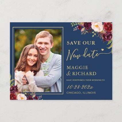 Burgundy Floral Navy Blue Gold Save The New Date